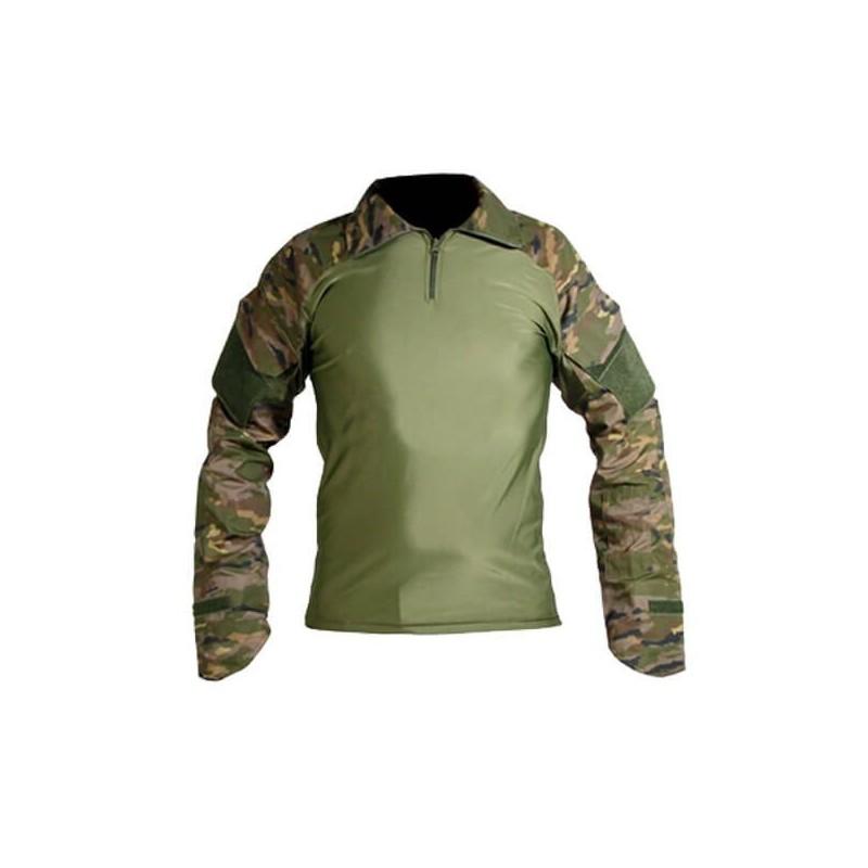 Camiseta táctica pixelada boscosa